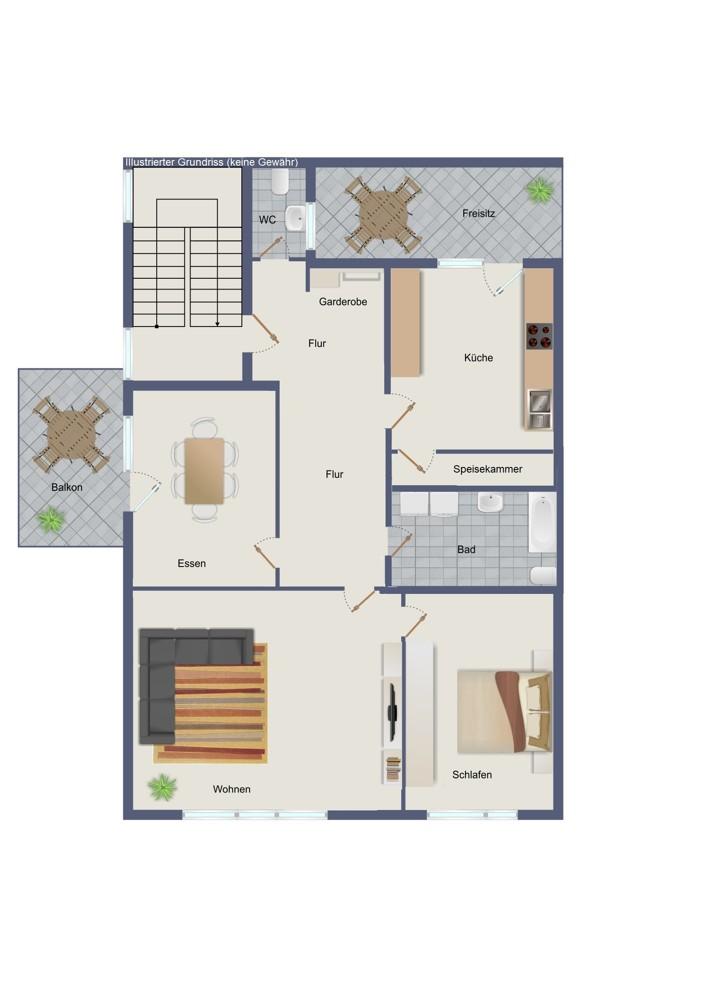 Obergeschoss – Wohn- und Geschäftshaus (kein Maßstab)