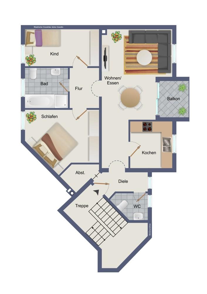 Obergeschoss, rechts (kein Maßstab)