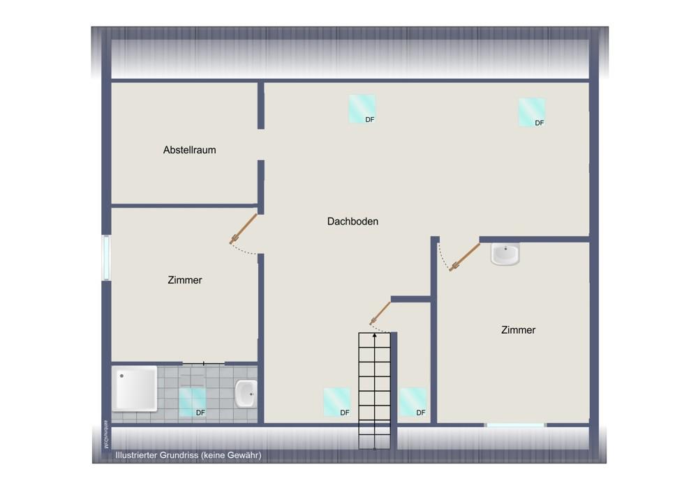 Dachgeschoss-Fachwerkhaus (kein Maßstab)