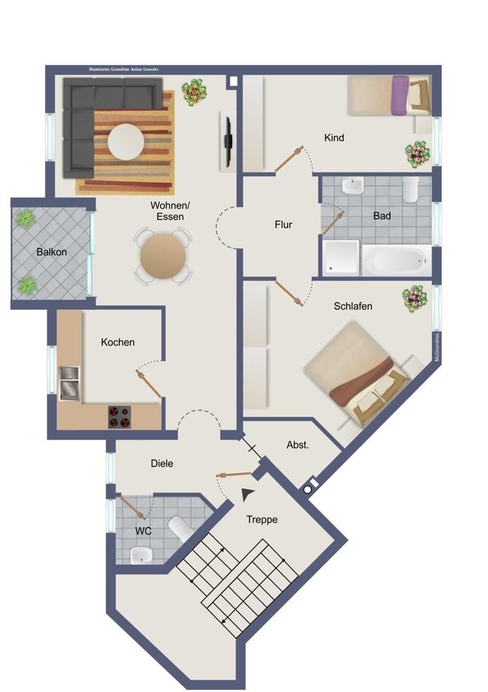 Obergeschoss, links (kein Maßstab)