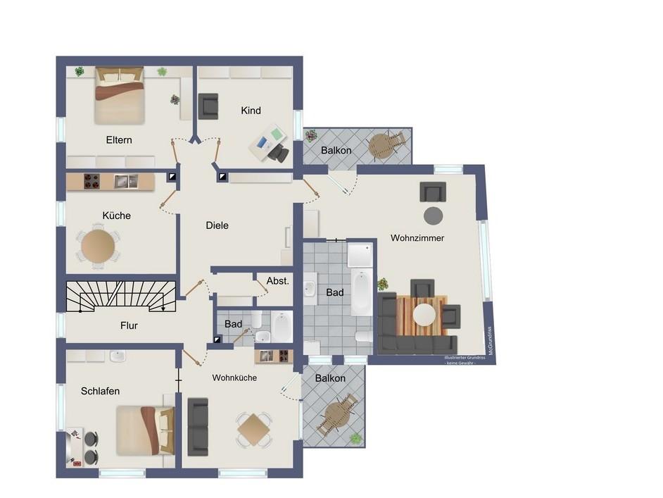 1. Obergeschoss (kein Maßstab)