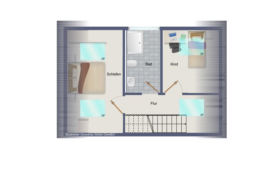 2. Obergeschoss (kein Maßstab)