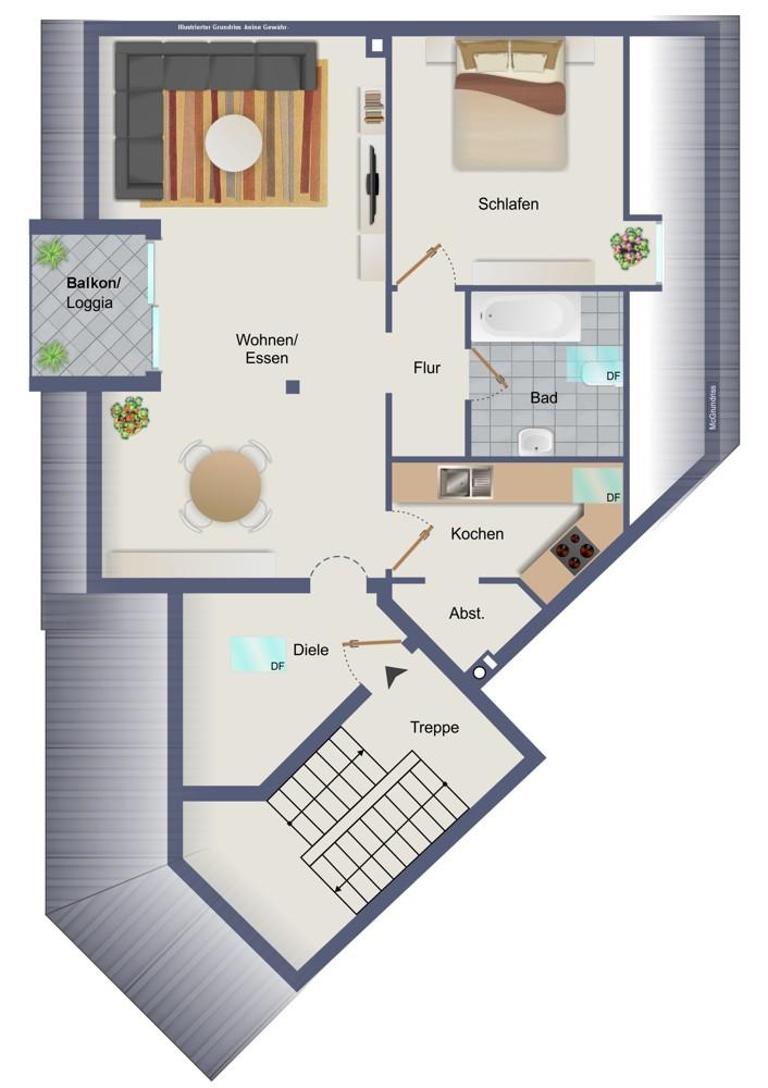 Dachgeschoss, links (kein Maßstab)